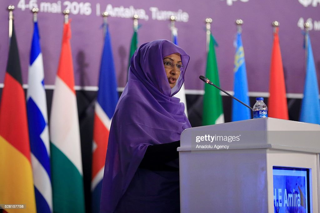 Chairman of the World Food Security Committee Amira Daoud Hassan Gornass delivers a speech during the 30th session of the FAO Regional Conference for Europe (ERC) in Antalya, Turkey on May 4, 2016.