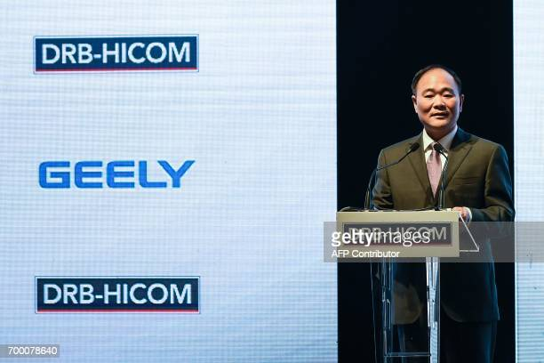 Chairman of the Zheijiang Geely Holding Group Li Shufu speaks before the signing ceremony between DRBHICOM Berhad and Zhejiang Geely Holding Group in...