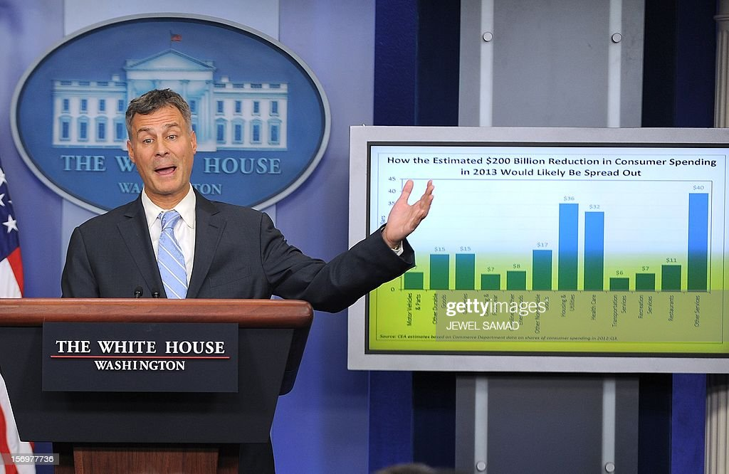 Chairman of US President Barack Obama's Council of Economic Advisers Alan Krueger speaks during a press briefing at the White House in Washington, DC, on November 26, 2012. The White House warned Monday that American consumers will spend $200 billion less in 2013 if the looming fiscal cliff is not averted and automatic tax hikes are triggered across the board. If no deal is reached before the end of the year, a poison pill of tax hikes and massive spending cuts, including slashes to the military, comes into effect with potentially catastrophic effects for the fragile US economy. AFP PHOTO/Jewel Samad