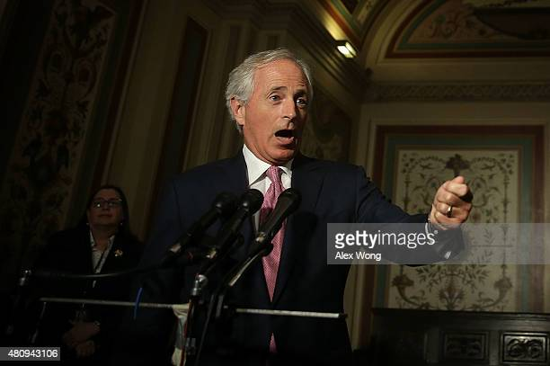 Chairman of US Senate Foreign Relations Committee Sen Bob Corker speaks to members of the media after a meeting with Vice President Joseph Biden July...