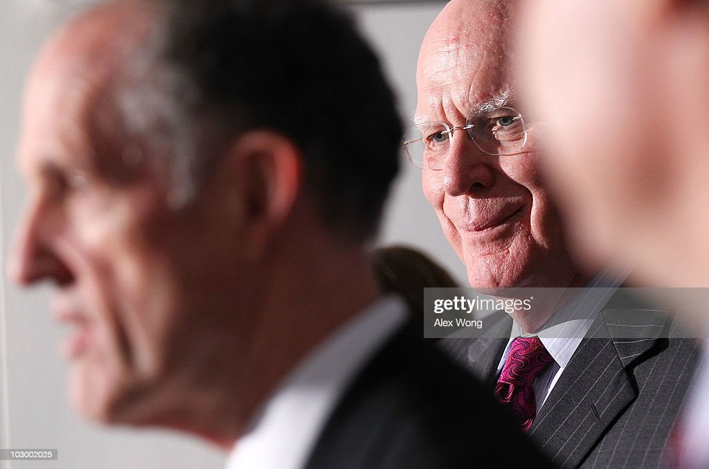 Chairman of U.S. Senate Judiciary Committee Patrick Leahy (D-VT) (R) listens as Sen. Edward Kaufman (D-DE) (L) speaks to the media after the Senate Judiciary Committee voted on the Kagan confirmation during a markup hearing July 20, 2010 on Capitol Hill in Washington, DC. The committee has voted 13-6, in favor of President Obama�s nomination of Elena Kagan to become an Associate Justice of the Supreme Court of the United States, to replace Justice John Paul Stevens who has retired on June 29, 2010.