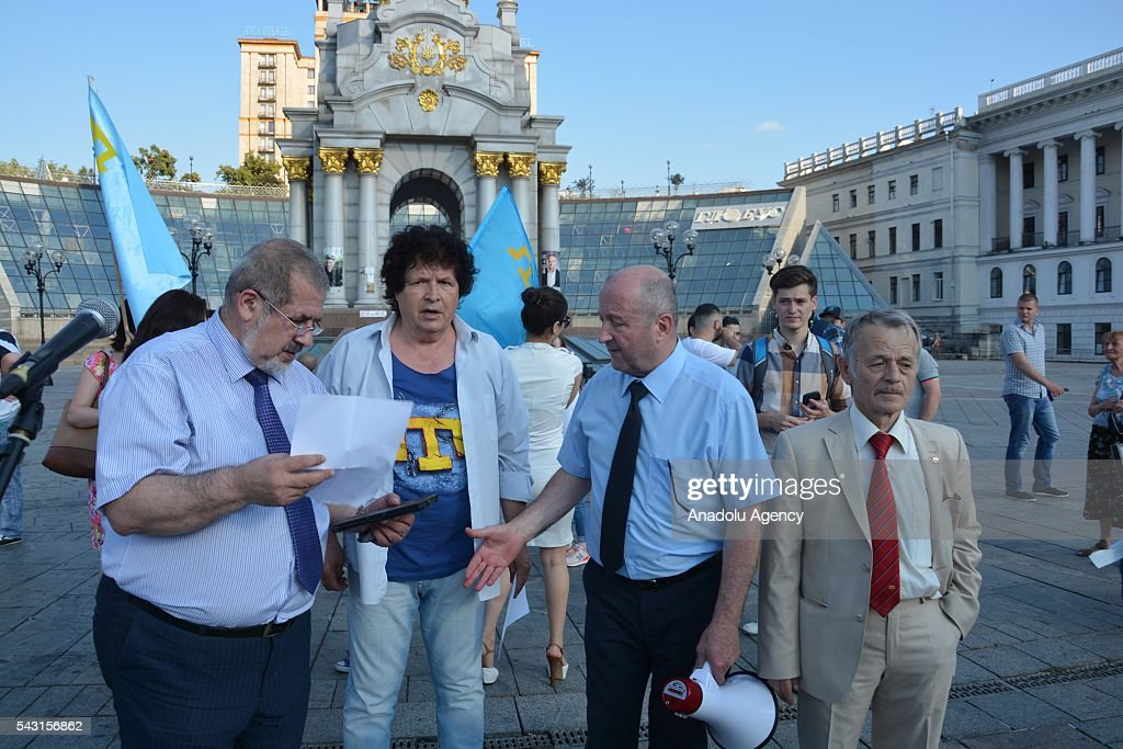 Chairman of World Congress of Crimean Tatars Refat Chubarov (L) and Leader of Crimean Tatars, Mustafa Dzhemilev (R) attend the 'Crimean Tatar Flag Day' in Kiev, Ukraine on June 26, 2016.