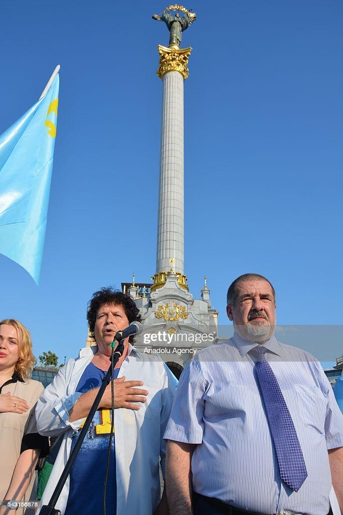 Chairman of World Congress of Crimean Tatars Refat Chubarov attends the 'Crimean Tatar Flag Day' in Kiev, Ukraine on June 26, 2016.