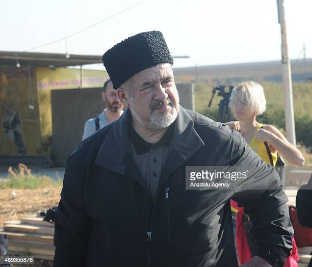 Chairman of World Congress of Crimean Tatars Refat Chubarov is seen during a protests as activists block a road near to the border crossing point of...