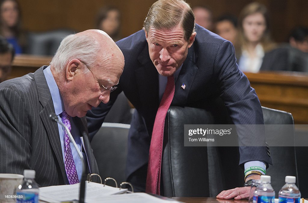 Chairman Pat Leahy, D-Vt., left, talks with Sen. Richard Blumenthal, D-Conn., before a Senate Judiciary Committee mark up in Dirksen on a variety of gun control resolutions.