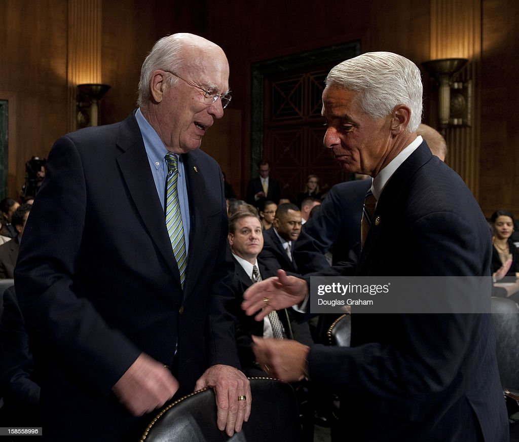 Chairman Patrick Leahy, D-VT., and Former Florida Governor Charlie Crist before the start of the TopicFull committee hearing on 'The State Of The Right To Vote After The 2012 Election,' focusing on American's access to the voting booth and the continuing need for protections against efforts to limit or suppress voting.