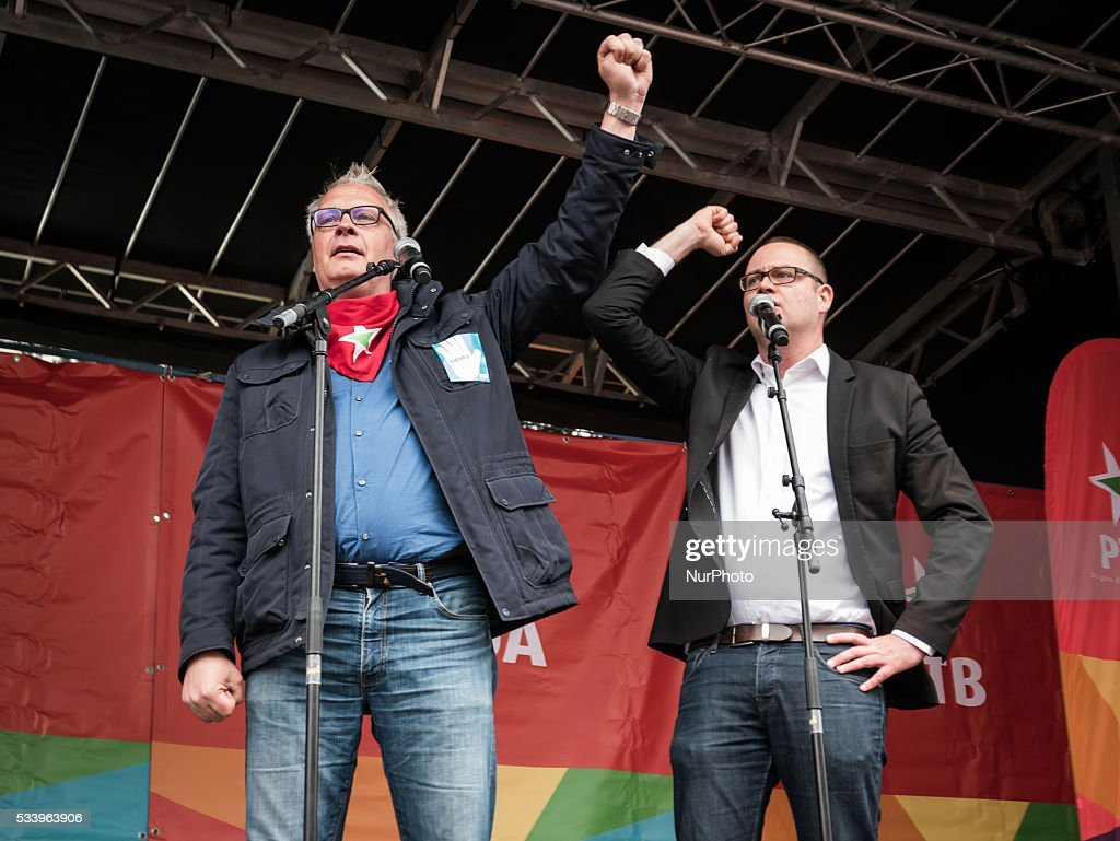 PVDA - PTB chairman Peter Mertens and PTB-GO !'s Raoul Hedebouw deliver a speech at a national demonstration of the three main trade unions, Tuesday 24 May 2016, in Brussels. Today christian democrat union, ACV-CSC, socialist union FGTB-ABVV and liberal union CGSLB-ACLVB hold a demonstration against measures introduced by the Federal Government.