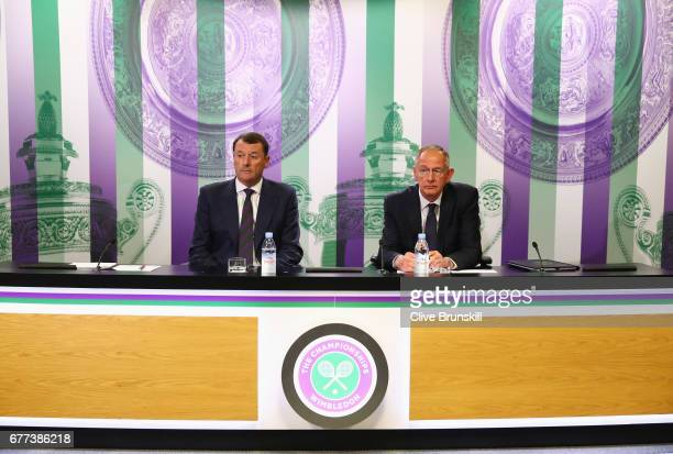 Chairman Philip Brook and AELTC Chief Executive Richard Lewis talk during the Wimbledon Spring Press Conference at the All England Lawn Tennis and...