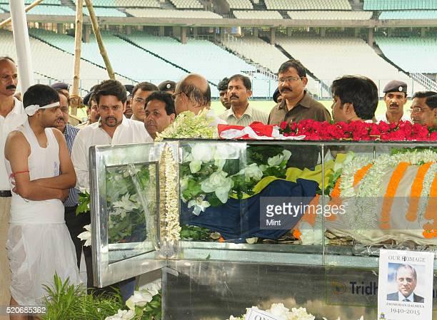 Chairman Rajeev Shukla and BCCI Secretary Anurag Thakur with Abhishek Son of late Jagmohan Dalmiya President of BCCI on September 21 2015 in Kolkata...