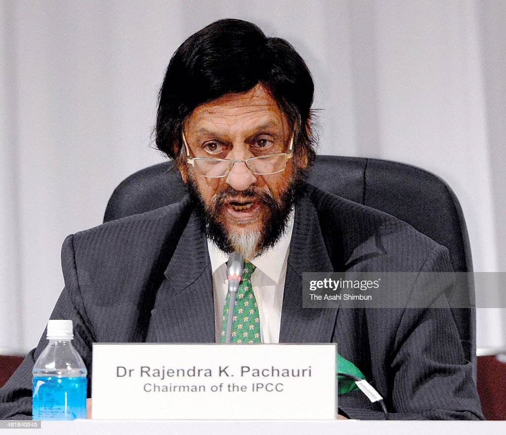 Chairman <a gi-track='captionPersonalityLinkClicked' href=/galleries/search?phrase=Rajendra+Pachauri&family=editorial&specificpeople=4128691 ng-click='$event.stopPropagation()'>Rajendra Pachauri</a> of the Intergovernmental Panel of Climate Change speaks during a press conference at Pacifico Yokohama on March 31, 2014 in Yokohama, Kanagawa, Japan.