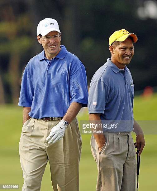 Chairman Randall Stephenson and Master Sergeant Andy Amor during the ATT National Earl Woods Memorial ProAm at Congressional Country Club on July 4...