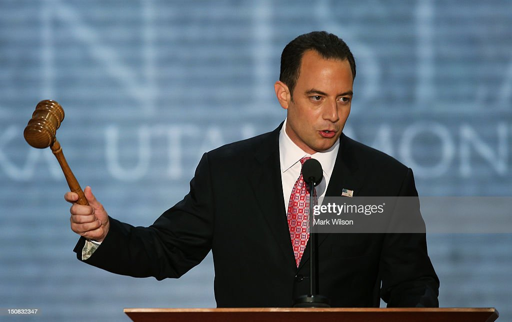 Chairman <a gi-track='captionPersonalityLinkClicked' href=/galleries/search?phrase=Reince+Priebus&family=editorial&specificpeople=7419119 ng-click='$event.stopPropagation()'>Reince Priebus</a> bangs the gavel to start the Republican National Convention at the Tampa Bay Times Forum on August 27, 2012 in Tampa, Florida. The RNC is scheduled to convene today, but will hold its first full session tomorrow after being delayed due to Tropical Storm Isaac.