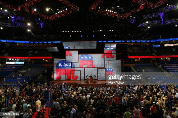 Chairman Reince Priebus bangs the gavel to start the Republican National Convention at the Tampa Bay Times Forum on August 27 2012 in Tampa Florida...