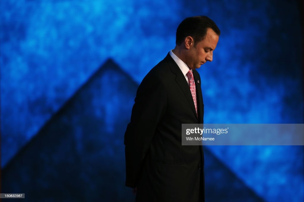 Chairman <a gi-track='captionPersonalityLinkClicked' href=/galleries/search?phrase=Reince+Priebus&family=editorial&specificpeople=7419119 ng-click='$event.stopPropagation()'>Reince Priebus</a> stands on stage during teh start of the Republican National Convention at the Tampa Bay Times Forum on August 27, 2012 in Tampa, Florida. The RNC is scheduled to convene today, but will hold its first full session tomorrow after being delayed due to Tropical Storm Isaac.