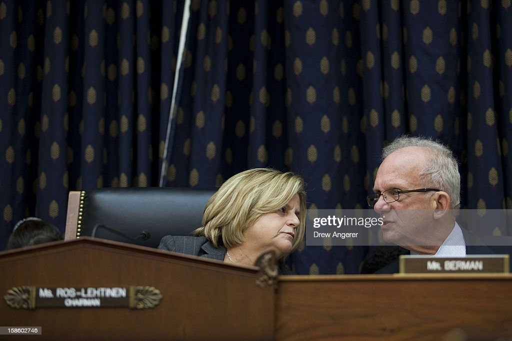 Chairman Rep. Leana Ros-Lehtinen (R-FL) confers with Ranking Member Howard Berman (D-CA) during the House Foreign Affairs Committee on the September 11th attack in Benghazi against the U.S. consulate, on Capitol Hill, December 20, 2012 in Washington, DC. Secretary of State Hillary Clinton was scheduled to testify, but was unable to attend due to an illness.