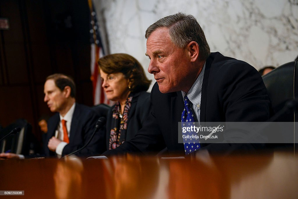 Chairman Richard Burr (R-NC) gives his opening remarks during the Senate (Select) Intelligence Committee hearing at the Hart Senate Building on February 9, 2016 in Washington, D.C. The committee met to hear testimony about worldwide threats to America and its allies.