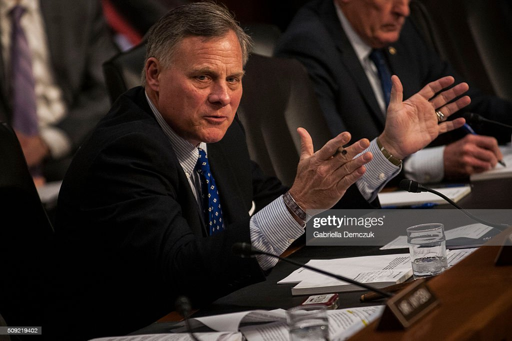 Chairman Richard Burr (R-NC) speaks during the Senate (Select) Intelligence Committee hearing at the Hart Senate Building on February 9, 2016 in Washington, D.C. The committee met to hear testimony about worldwide threats to America and its allies.