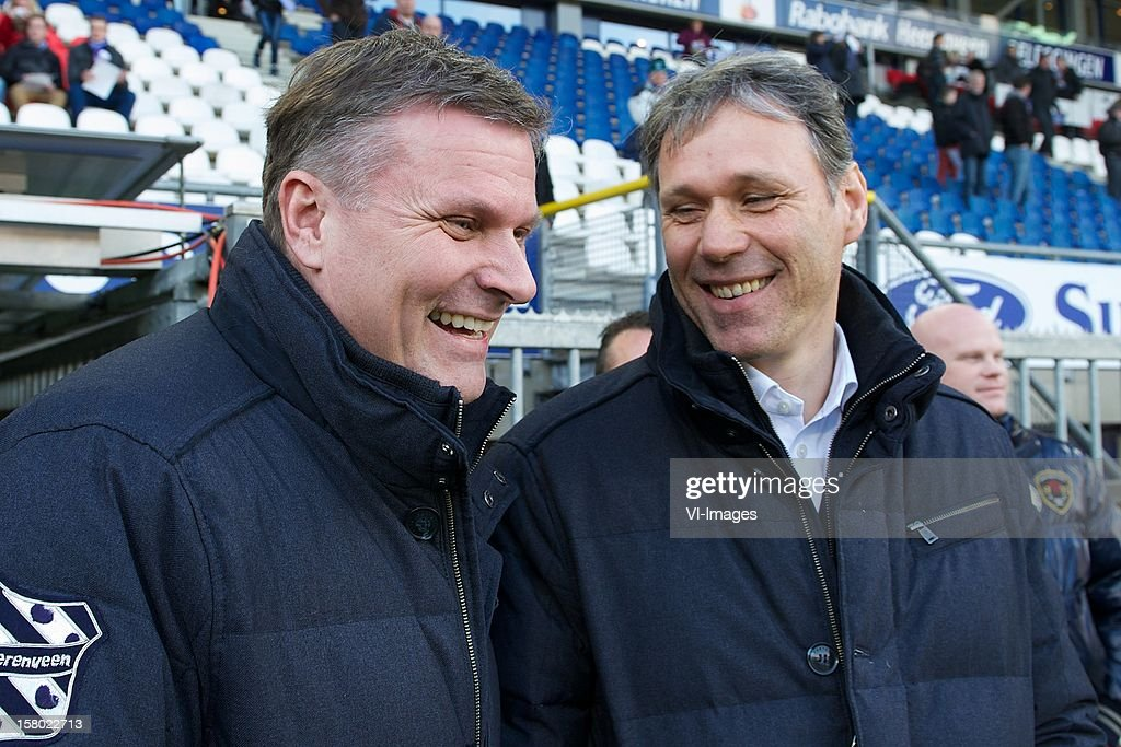 chairman Robert Veenstra of Heerenveen, coach Marco van Basten of SC Heerenveen during the Dutch Eredivisie match between SC Heerenveen and Roda JC Kerkrade at the Abe Lenstra Stadium on December 09, 2012 in Heerenveen, The Netherlands.