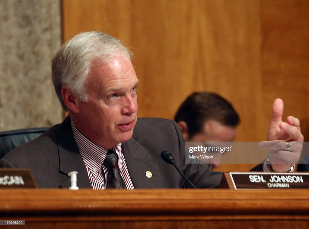 Chairman <a gi-track='captionPersonalityLinkClicked' href=/galleries/search?phrase=Ron+Johnson+-+Politiker&family=editorial&specificpeople=12902569 ng-click='$event.stopPropagation()'>Ron Johnson</a> (R-WI) speaks during a Senate Homeland Security and Governmental Affairs Committee hearing April 22, 2015 in Washington, DC. The committee heard testimony on Securing the Border and understanding threats and strategies for the northern US border.