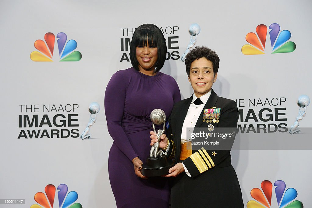 Chairman Roslyn M. Brokc (L) and Chairman's Award winner Navy Vice Admiral <a gi-track='captionPersonalityLinkClicked' href=/galleries/search?phrase=Michelle+Howard+-+Admiral&family=editorial&specificpeople=2163111 ng-click='$event.stopPropagation()'>Michelle Howard</a> pose in the press room during the 44th NAACP Image Awards at The Shrine Auditorium on February 1, 2013 in Los Angeles, California.