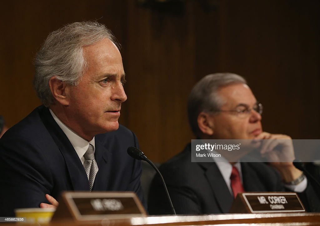 Chairman Sen Bob Corker and ranking member Sen Bob Menendez listen to testimony during a Senate Foreign Relations Committee hearing on Capitol Hill...