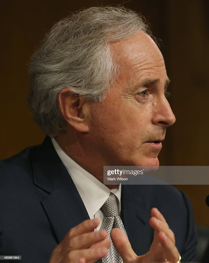 Chairman Sen Bob Corker speaks during a Senate Foreign Relations Committee hearing on Capitol Hill March 11 2015 in Washington DC The committee was...