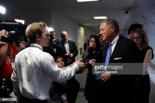 Chairman Sen Richard Burr speaks with reporters after a meeting of the Senate Select Committee on Intelligence on Capitol Hill April 6 2017 in...