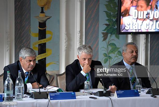 Chairman Shashank Manohar and David Richardson ICC chief Executive and outgoing ICC president Zaheer Abbas during the ICC Full Council meeting at The...