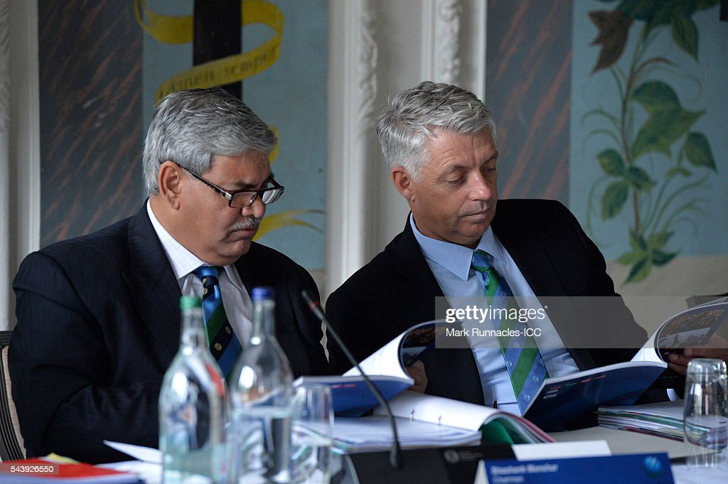 ICC Chairman <a gi-track='captionPersonalityLinkClicked' href=/galleries/search?phrase=Shashank+Manohar&family=editorial&specificpeople=5543129 ng-click='$event.stopPropagation()'>Shashank Manohar</a> (L), and David Richardson ICC chief Executive during the ICC Full Council meeting at The Waldorf Astoria, The Caledonian on June 30, 2016 in Edinburgh, Scotland.