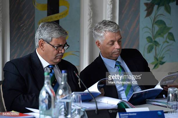 Chairman Shashank Manohar and David Richardson ICC chief Executive during the ICC Full Council meeting at The Waldorf Astoria The Caledonian on June...