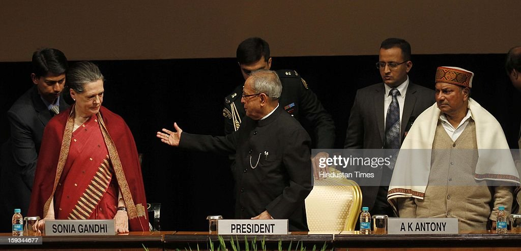UPA Chairman Sonia Gandhi, President Pranab Mukherjee and Defence Minister A K Antony during the Commemoration of 150th Birth Anniversary of Swami Vivekananda at Rashtrapati Bhawan on January 12, 2013 in New Delhi, India.