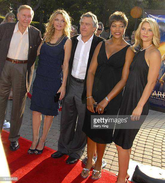 Chairman Sumner Redstone actress Michelle Pfeiffer actor Robert De Niro and his wife and actress Claire Danes at the 'Stardust' Los Angeles Premiere...