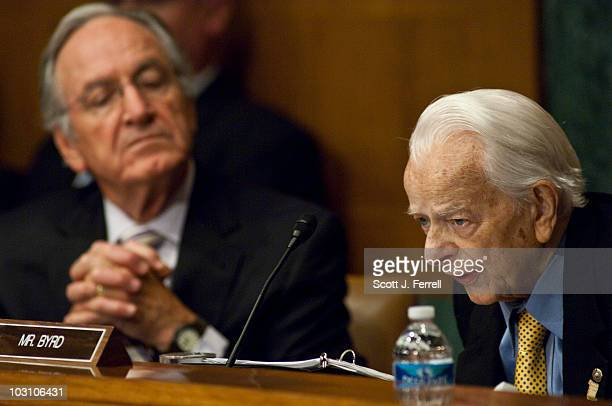 Chairman Tom Harkin and Sen Robert C Byrd attend a Senate Appropriations Subcommittee on Labor Health and Human Services Education and Related...