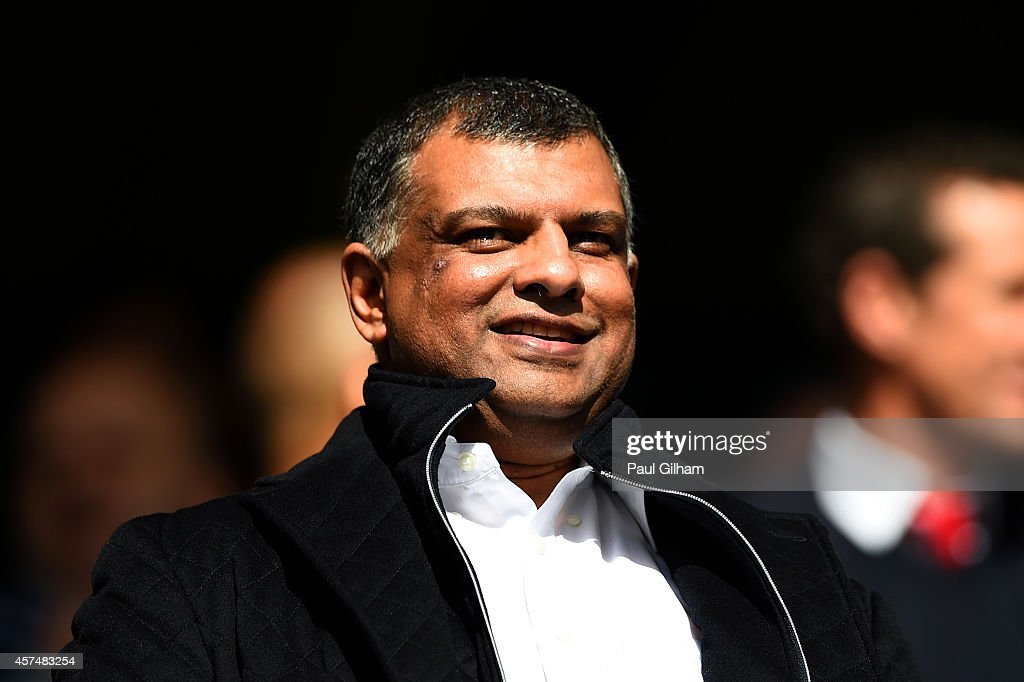 Chairman <a gi-track='captionPersonalityLinkClicked' href=/galleries/search?phrase=Tony+Fernandes&family=editorial&specificpeople=2103805 ng-click='$event.stopPropagation()'>Tony Fernandes</a> looks on before the Barclays Premier League match between Queens Park Rangers and Liverpool at Loftus Road on October 19, 2014 in London, England.