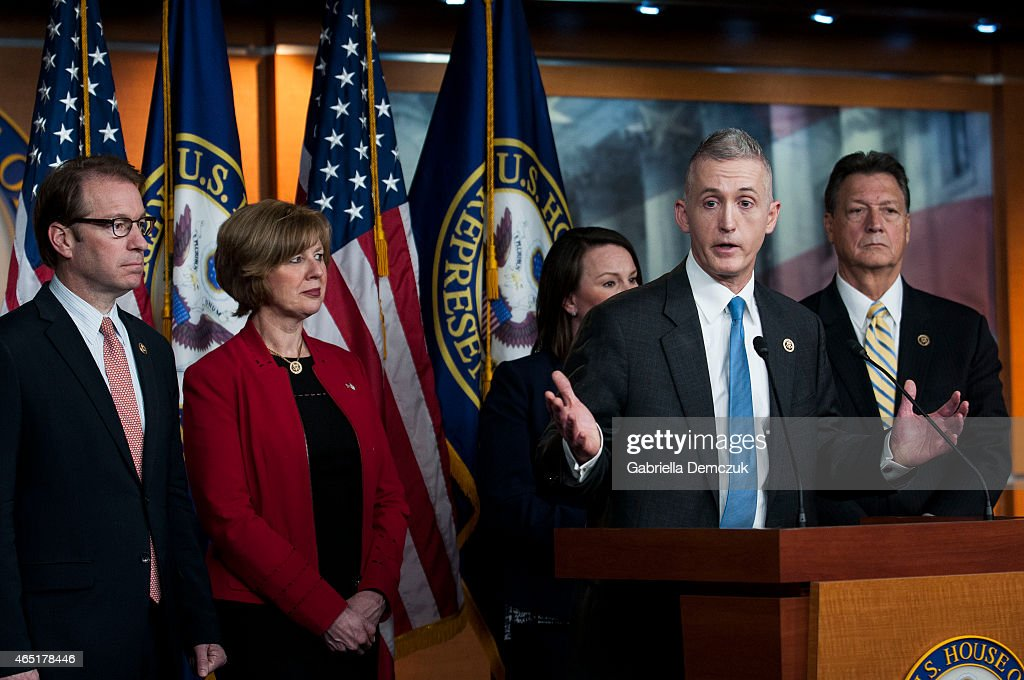 Chairman Trey Gowdy and other members of the House Select Committee on Benghazi speak to reporters at a press conference on the findings of former...
