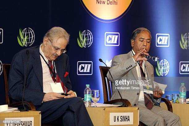 Chairman UK Sinha with ITC LimitedChairman YC Deveshwar during the 9th Sustainable and Inclusive Solutions Summit at hotel The Lalit on September 17...
