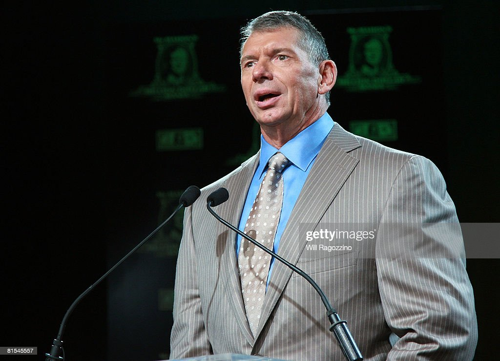 Chairman Vince McMahon attends the announcement of the First McMahon Million Dollar Mania Winners at the Hard Rock Cafe June 12, 2008 in New York City.