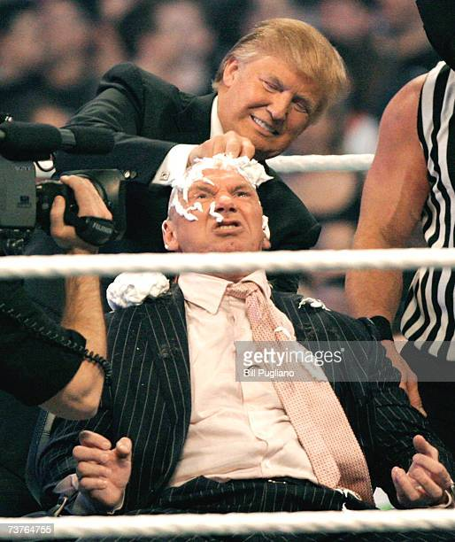 WWE chairman Vince McMahon has his head shaved by Donald Trump after losing a bet in the Battle of the Billionaires at the 2007 World Wrestling...