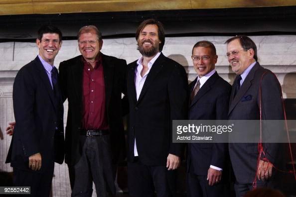 Chairman Walt Disney Studios Rich Ross director Robert Zemeckis actor Jim Carrey David Lim and Gary Elliot attend the 'Disney's A Christmas Carol'...