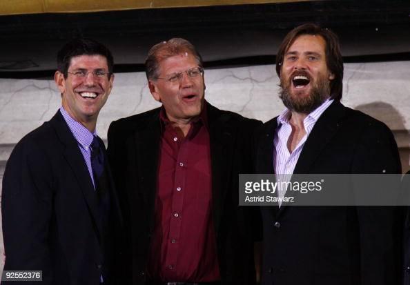 Chairman Walt Disney Studios Rich Ross director Robert Zemeckis and actor Jim Carrey attend the 'Disney's A Christmas Carol' train tour last stop at...