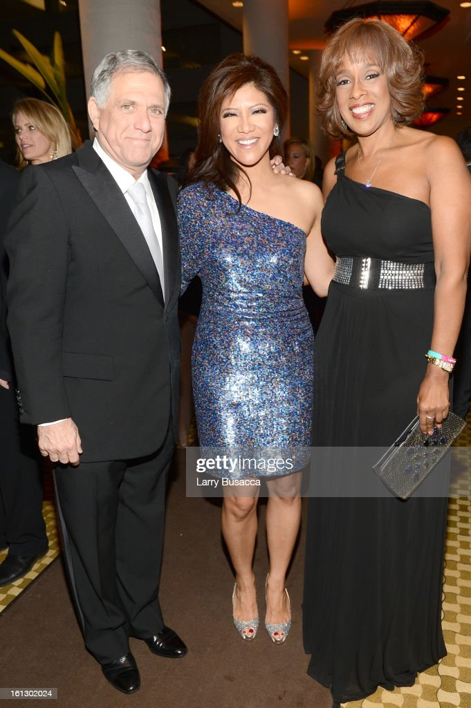 CBS Chairman/CEO Les Moonves TV personality Julie Chen and TV personality Gayle King arrive at the 55th Annual GRAMMY Awards PreGRAMMY Gala and...
