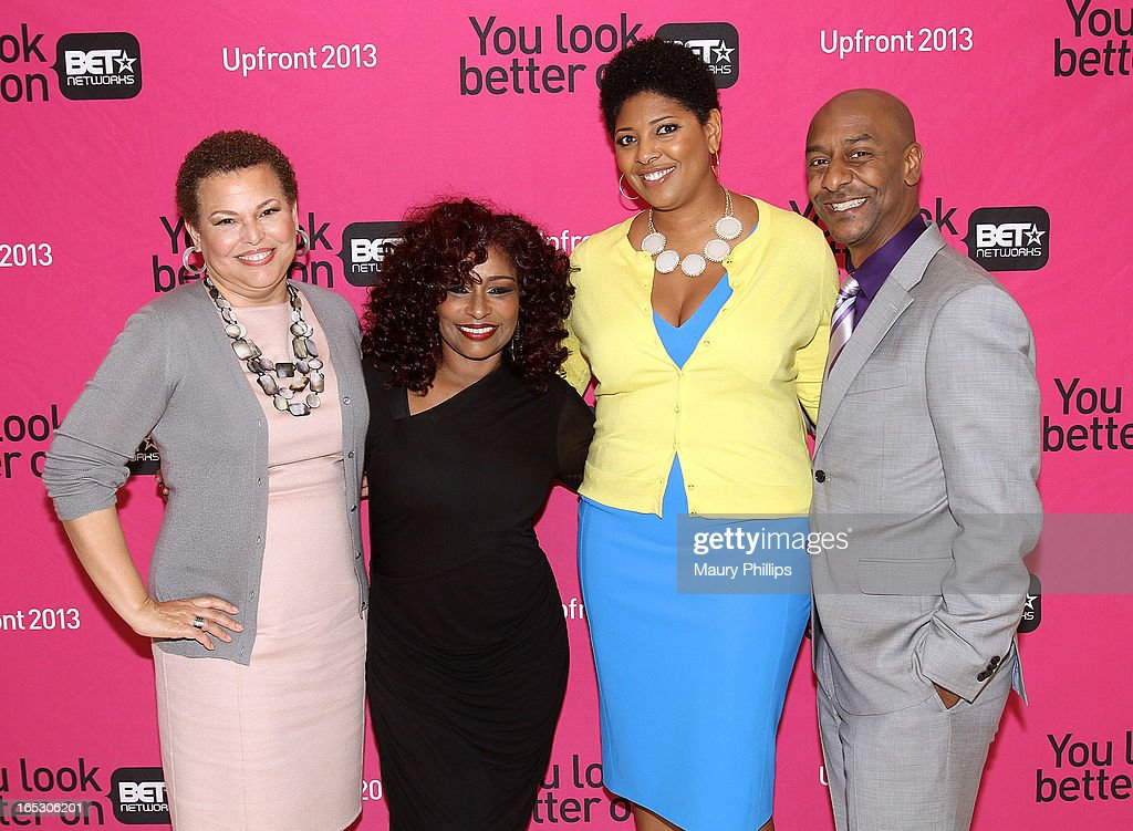 Chairman/CEO of BET Networks Debra Lee, Chaka Khan, Vicky Free and president of music programming BET Networks Stephen Hill attend BET Networks 2013 Los Angeles Upfront at Montage Beverly Hills on April 2, 2013 in Beverly Hills, California.