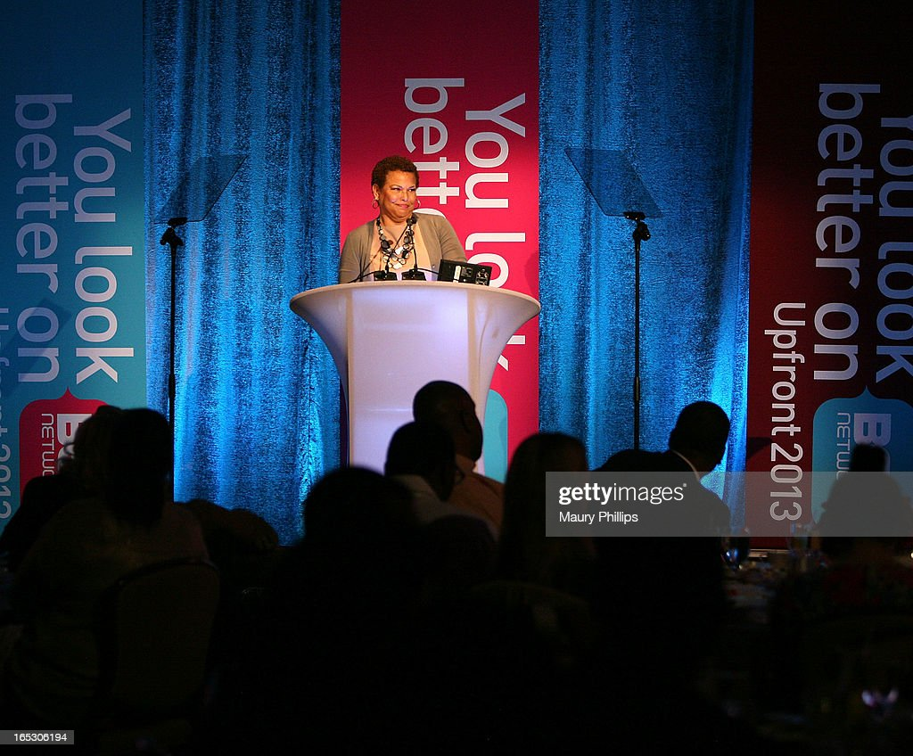 Chairman/CEO of BET Networks Debra Lee speaks onstage during BET Networks 2013 Los Angeles Upfront at Montage Beverly Hills on April 2, 2013 in Beverly Hills, California.