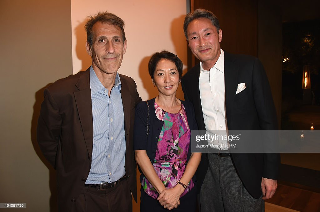 Chairman/CEO of Sony Pictures Entertainment, Michael Lynton, Riko Hirai and CEO of Sony Corporation, Kazuo Hirai attend Sony Pictures Entertainment Celebrates its' Nominees along with GREY GOOSE Vodka at Private Residence on February 21, 2015 in Brentwood, California.