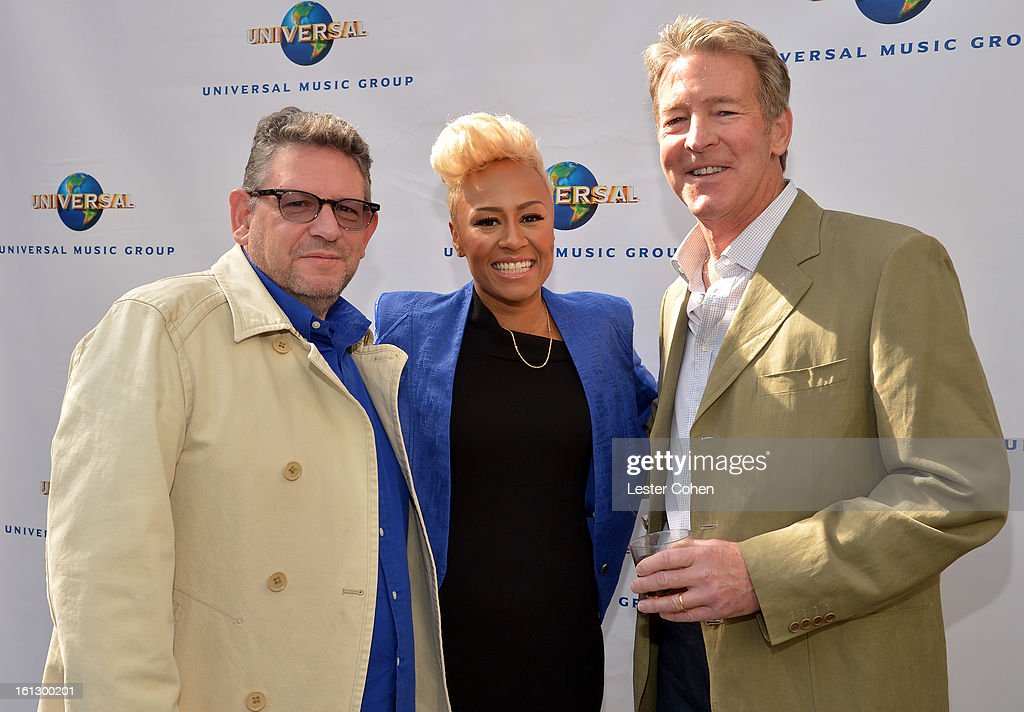 Chairman/CEO of Universal Music International <a gi-track='captionPersonalityLinkClicked' href=/galleries/search?phrase=Lucian+Grainge&family=editorial&specificpeople=813742 ng-click='$event.stopPropagation()'>Lucian Grainge</a>, Recording artist Emeli Sande, and President/CEO of Universal Music Group Distribution Jim Urie attend Universal Music Group Showcase '13 Backstage at Lure on February 9, 2013 in Hollywood, California.