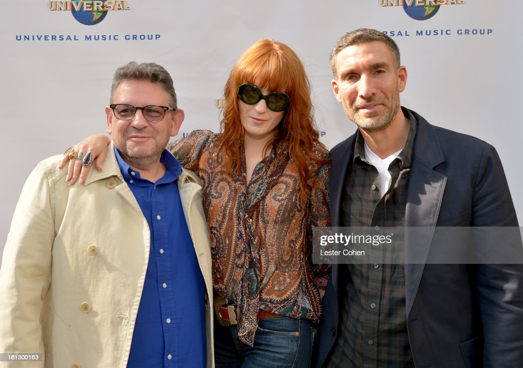 Chairman/CEO of Universal Music International <a gi-track='captionPersonalityLinkClicked' href=/galleries/search?phrase=Lucian+Grainge&family=editorial&specificpeople=813742 ng-click='$event.stopPropagation()'>Lucian Grainge</a>, singer <a gi-track='captionPersonalityLinkClicked' href=/galleries/search?phrase=Florence+Welch&family=editorial&specificpeople=5431574 ng-click='$event.stopPropagation()'>Florence Welch</a>, and Chairman/CEO of Universal Music UK David Joseph attend Universal Music Group Showcase '13 Backstage at Lure on February 9, 2013 in Hollywood, California.