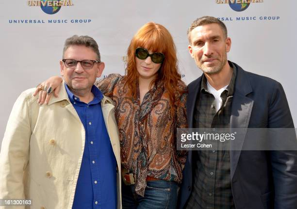 Chairman/CEO of Universal Music International Lucian Grainge singer Florence Welch and Chairman/CEO of Universal Music UK David Joseph attend...