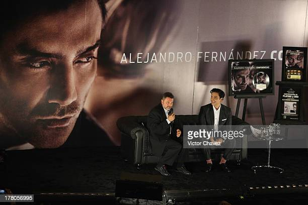 Chairman/CEO Universal Music Latin American and Iberian Peninsula Jesus Lopez and Alejandro Fernandez speak during a press conference to promote the...