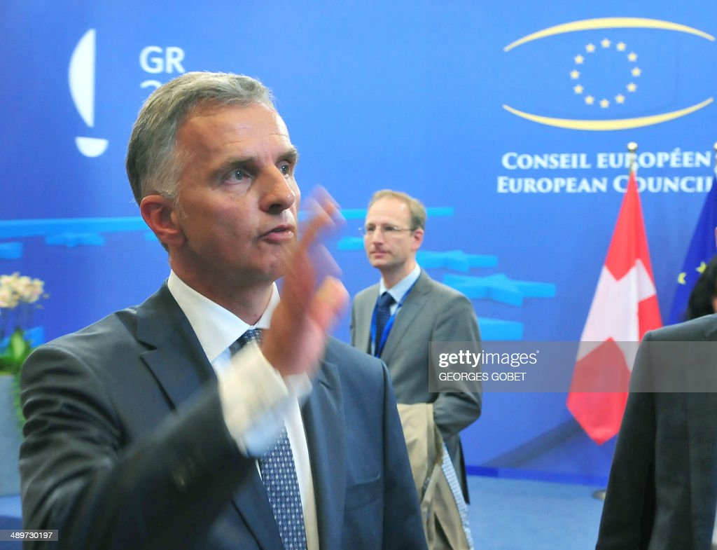 Chairman-in-Office and President of the Swiss Confederation <a gi-track='captionPersonalityLinkClicked' href=/galleries/search?phrase=Didier+Burkhalter&family=editorial&specificpeople=6269147 ng-click='$event.stopPropagation()'>Didier Burkhalter</a> answers journalists' questions after a Foreign Affairs Council on the current situation in Ukraine on May 12 , 2014 at the EU Headquarters in Brussels.