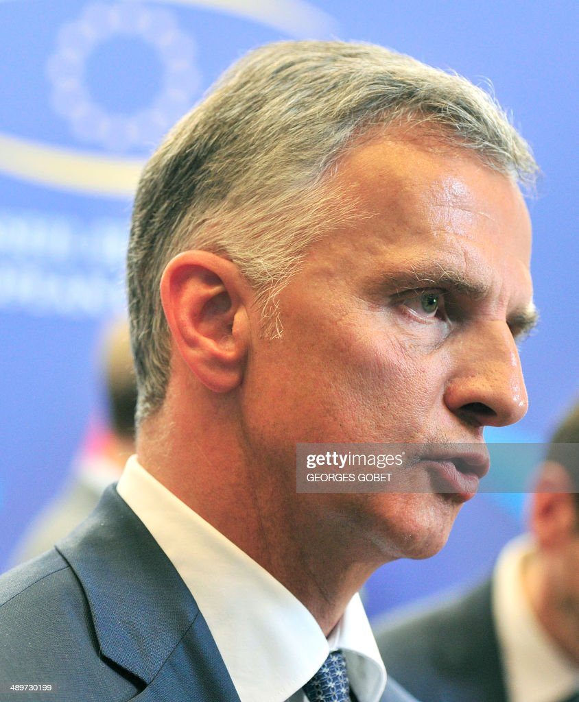 Chairman-in-Office and President of the Swiss Confederation <a gi-track='captionPersonalityLinkClicked' href=/galleries/search?phrase=Didier+Burkhalter&family=editorial&specificpeople=6269147 ng-click='$event.stopPropagation()'>Didier Burkhalter</a> answers journalists' questions after a Foreign Affairs Council on the current situation in Ukraine on May 12 , 2014 at the EU Headquarters in Brussels. AFP PHOTO GEORGES GOBET